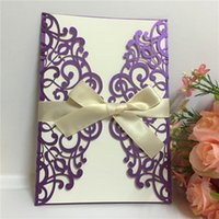 Wholesale Ivory Purple Wedding Invitations - Selling Elegant Lace Flower Laser Cut Wedding Invitation Card Purple ColorFree Printing Wedding Supplies Free Shipping