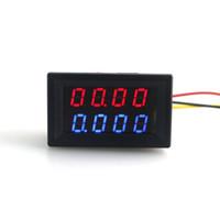 dc panel ampermetre toptan satış-Dijital 4 Bit DC 200 V 0-10A Voltmetre Ampermetre Paneli Kırmızı Mavi LED Çift Ekran Şant 12 v 24 v Araba Gerilim Akım Monitör Test