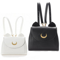 Wholesale White Leather Costume - TOP Sale Anime Sailor Moon Samantha Vega Luna Backpack Cosplay Shoulder Bag Costume Accessories White+Black Fake Leather Bag