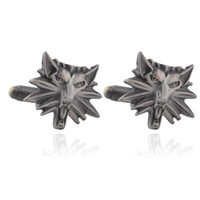 Wholesale Vintage Wolves - Gothic Punk The Witcher 3 Cufflinks For Mens Wild Hunt Shirt Brand Cuff Buttons High Quality Vintage Wolf Heads Cuff Links Gifts 0903818-4