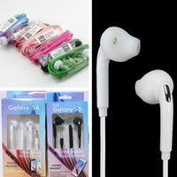 Wholesale galaxy w - For Samsung Galaxy S6  S6 Edge In-Ear Headset Handsfree Earphone Earbud W Mic for phone 3.5mm wired in ear headset