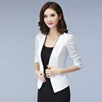 Wholesale Type Women Blazer - Summer Women's Slim Thin Coat Short Type Lady Suits Small White Blazers Office Working Blazer Coats