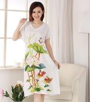 Wholesale Gray Cotton Nightdress - Wholesale- Female Sleepwear Fashion Nightgown Printed Robe Bath Gown Nuisette Pijama Mujer Lady Cotton Sleep Tops Women Nightdress X34030