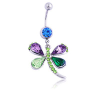 Wholesale Dragonfly Piercing - Piercing Body Jewelry Belly Button Rings Stainless Steel Austrian Crystal Dragonfly Colorful Mixed Navel Ring Fine Wholesale