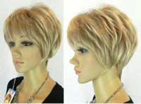 Wholesale Low Price Short Wigs - 100% free shipping New High Quality Fashion Picture full lace wigs>>Hot Sell! Low Price New Vogue short mixed blonde hair wig