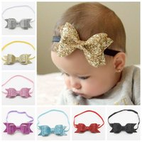 Wholesale Elastic Sequins Headbands - 2016 baby sequin bows headbands girls boutique hair bows kids leather bow accessories children shiny elastic hairbands headwrap wholesale