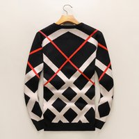 Wholesale Autumn Cashmere Sale - Hot sale Autumn and winter new long - sleeved sweater men trend round collar plaid printing sweater