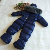 Wholesale Blue Fox Fur Collar Coat - ME4 snow Suit Brand Boys girls jacket Pants waterproof real raccoon fox fur collar outwear winter french warm snow coat children parka