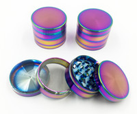 Wholesale Rainbow Smokes - Beautiful 40mm 50mm 55mm 63mm Rainbow Grinders With 4 Parts Grinder Zinc Alloy Material Top Tobacco Herb Grinders Smoking Spice Crusher