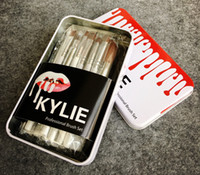 Wholesale Wholesale Portable Tool Boxes - Kylie Jenner Oval Makeup Brushes 12pcs Set Cosmetic Foundation Eye Shadow BB Cream Portable Too faced Brush Set Make Up Tools+Tin Box
