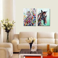 Wholesale Abstract Horse - Unframed Hand-painted Abstract Wall Art Horse Beast Cheetah Leopard Panther Picture Home Decor Oil Painting On Canvas for Living Room