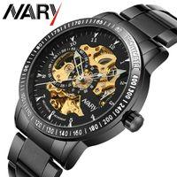 Wholesale Engraved Batteries - Nary Brand Logo Design Hollow Engraving High Grade Really Leather Skeleton Mechanical Watches Men's Luxury Brand Heren Horloge for presegift