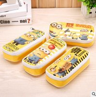 Wholesale Despicable Stationery - Cute Despicable Me Minions PU Leather Pencil Case Stationery Storage Organizer Bag School Supply Escolar Papelaria