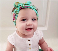 Wholesale Wholesale Boho Headband - BOHO style Kids Girls Twisted Knotted Floral Headbands Girls Bunny Rabbit Ear Headwraps Babies Cute Cotton Hair Accessories Hairbands KHA417