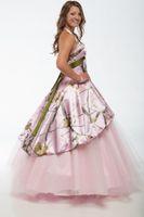 rosa camo stile großhandel-Rosa Camo Brautkleider 2018 mit abnehmbaren Rock nach Maß Country Style Camo Brautkleider