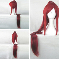 Wholesale Red Anime Wig - Anime Fairy Tail Erza Scarlet 100cm Long Synthetic Hair Red Costume Wig Beautiful Perucas Cosplay Wig + 1 Ponytail ePacket Free