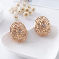 Wholesale 14k Gold Pierced Earrings - New Exaggerated fashion knitting elliptical ear clip girl crystal earrings gift jewelry wholesale without ear pierced earrings