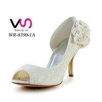 Wholesale Shoes Elegant For Weddings - 2016 Ivory Color Nice Lace Elegant Style Bridal Shoes Wedding Dress Shoes Handmade Shoes for Wedding From Size35-Size 42 Free Shipping