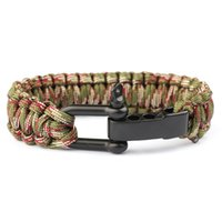 Outdoor Camping Rescue Paracord Braceletes Parachute Cord Men Emergency Rope Preto Aço inoxidável Survival Buckles Bracelet