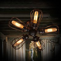 schwarze halbdeckeneinbau deckenleuchte großhandel-Vintage Scheune Metall Semi Flush Mount Light Black Iron Loft antike industrielle Lampe Edison Birne T45 Retro Deckenleuchte Grapefruit Wandleuchte