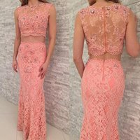 Wholesale Cheap Multi Colored Dresses - Coral Colored Two Piece Lace Prom Dresses Crew Neck Beaded Crystal Prom Gowns Cheap Woman Party Dresses