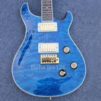 гитары электрическое небо оптовых-Музыкальный инструмент гитара магазин,небесно-голубой стеганый клен топ ,золото аппаратные Paul Smith гитара электрический,бесплатная доставка