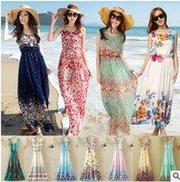 Wholesale Club Dresses Wholesalers - Bohemian dress Summer Style Floral Print Maxi Dresses Women Beach Club Casual Loose Chiffon Sleeveless O- Neck Long Elegant