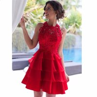 Wholesale Chiffon Layered Mini Skirt - Vestidos de Formatura Red Dress Short Homecoming Dresses Cocktail Dress with Lace and Layered Skirt O-neck vestidos de fiesta cortos Party