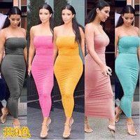 Wholesale Strapless Tight Black Dress - 2016 Women Sexy Tee Dress Casual Summer Long Dresses Sleeveless Backless Dresses Fashion club party Tight dress