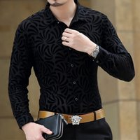 black silk chemise - 2016 Mens See Through Shirts Black Velvet Shirts Transparent Camisas Hombre Vestir Silk Shirts Flowers Club Dress Chemise Homme