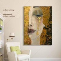 Wholesale Oil Canvas Abstract Portrait - Gustav Klimt Woman Portrait Pure Handpainted Art oil painting Home Wall Decor on High Quality Canvas size can be customized