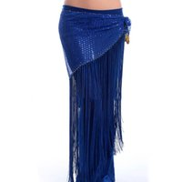 Wholesale Tassel Waist Scarves - 2016 New Belly Dance Hip Scarf Tassel&Highlight Belly Dancing Belt 9 Colors Egyptian Waist Chain For Bellydance DQ8005