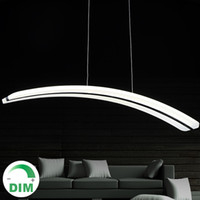 Wholesale Moon Pendant Lamp - For Parlor dinning room 110V 220V long line PC PMMA arc curve crescent moon shape acrylic led pendant light lamp dimmable