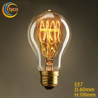 ingrosso lampadina di carbonio-Lampadina a led vintage Edison Lampadina a LED Lampadina E27 Vintage Squirrel 40W fuochi d'artificio in filamenti di carbonio