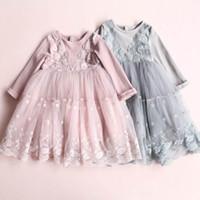 Wholesale Girls Gauze Ruffle Sleeves - 2017 Autumn New Baby Girls Dresses Lace embroidery Splice gauze Long Sleeve Dress Children Clothing E316964