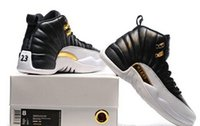 Wholesale Mens Leather Hiking Boots 12 - Best Quality Black and gold the Retro 12 Wings mens shoes athletic trainer sports footwears 12 Genuine leather outdoor shoes