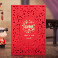 Wholesale Wedding Invitation Card Classic - Wholesale- Classic Red Hollow Gold Shiny Double Xi Wedding Invitations Cards with Envelopes and Seals, Free Printing