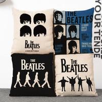 Wholesale beatles pillows - 45cm Black Music Character The Beatles Cotton Linen Fabric Waist Pillow 18inch Fashion New Home Gift Coffeehouse Decoration Sofa Car Cushion