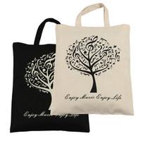Wholesale Beige Tree - Pure Cotton Bag Shopping bags 2pcs Music Tree Cotton Bag- Black and Beige