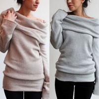 Wholesale Poncho Tricot - 2017 Autumn winter women Long sleeve Sweater Pullovers Black Gray poncho burderry sweater women jumper unif feminino tricot 2pcs lot