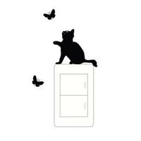 ingrosso interruttore di arte adesiva in vinile-Nuovo modo pratico interruttore finestra parete in PVC adesivo con farfalla gatto vinile Art Decal Home Decor