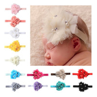 Wholesale Three Band Pearl Headband - Baby Hair Bands Colorful Three Lace Flowers Headband Pure Color With Pearl Headwrap Red Pink Black 2 25ml B