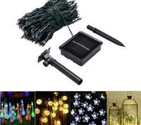 ingrosso l'illuminazione esterna ha condotto le strisce di colore-Xmas Outdoor Solar Powered LED String Light Fairy Blossom 5m 10m 12m per le vacanze di Natale Illuminazione strisce decorative Cambia colore della lampada