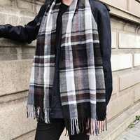 Wholesale Winter Mufflers Men - Autumn and winter new men scarf Korean lattice muffler women shawl students fashion leisure warm thick neckerchief young couple collar