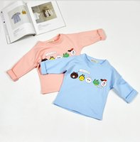 Wholesale Lining Tshirts - 2016 Boys Girls Baby Childrens T-shirts Clothing Spring Autumn Cotton Long Sleeve tshirts Cartoon LINE Tops Jumpers Toddler Kids Clothes