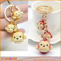 Wholesale Monkey Rings Jewelry - 2 Colors Copper Bell Monkey Keychain Creative Cartoon Monkeys Bag Pendant Key Ring, Women Handbag Jewelry Friends Gifts