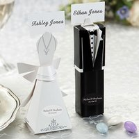 Wholesale Lovely Bride - Romantic Hot Sale 10Sets Mini Wedding Favor Candy Box Bride & Groom Dress Tuxedo Lovely Gift Box