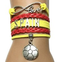spain soccer ball - Hot DIY jelwery accessories Infinity Love Spain Bracelet Customized Sports Soccer Ball Team Countries World Cup Cheering Friendship GiftFans