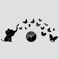Wholesale Wholesale Plastic Baby Elephant - 2016 sale Acrylic Quartz clock wall watch baby elephant butterflies art mordern design diy 3d mirror sticker decor freeshipping TY1964