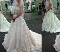 Wholesale Stapless Wedding Gowns - White 2017 A Line Wedding Dresses Lace Applique Stapless Sleeveless Court Train 2016 Princess Bridal Gowns